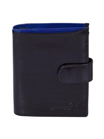 Czarno-niebieski męski portfel ze skóry naturalnej z zapięciem
