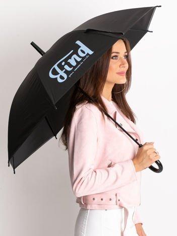 Czarno-niebieski parasol z nadrukiem