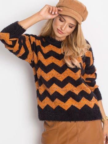 Czarno-pomarańczowy sweter Geometric