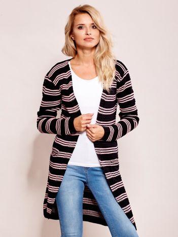 Czarno-różowy otwarty sweter w prążek