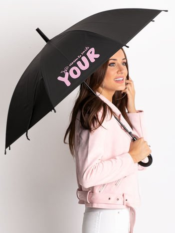 Czarno-różowy parasol z nadrukiem