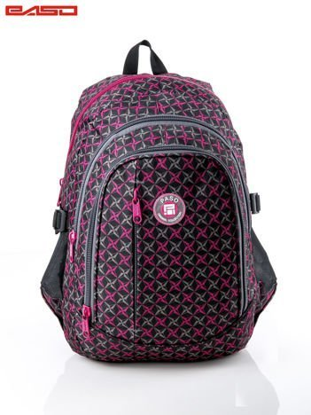Czarno-różowy wzorzysty plecak szkolny