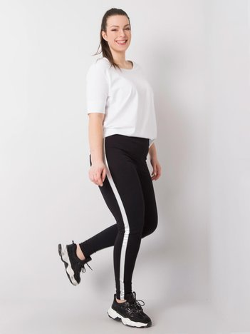 Czarno-srebrne legginsy plus size z lampasami Charlotta