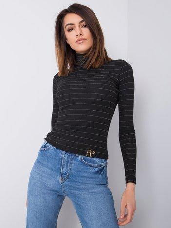 Czarno-srebrny sweter z golfem Leslie RUE PARIS
