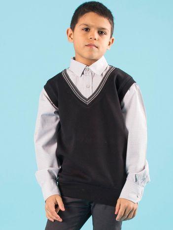 Czarno-szara elegancka kamizelka chłopięca z koszulą