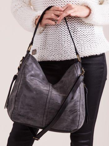 Czarno-szara torba z łączonych materiałów