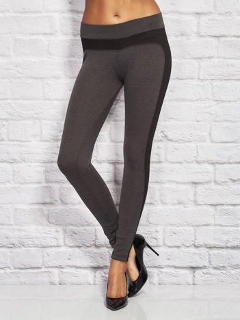 Czarno-szare legginsy ze wstawkami w drobne paski