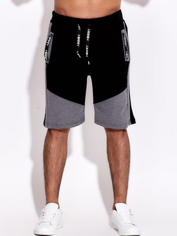 Czarno-szare szorty męskie sportowe z kieszeniami i troczkiem