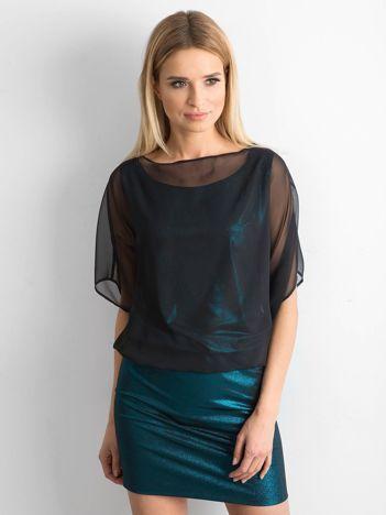 Czarno-turkusowa sukienka damska