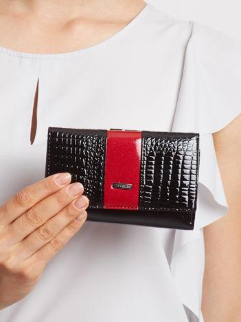 Czarno-wiśniowy mały portfel ze skóry
