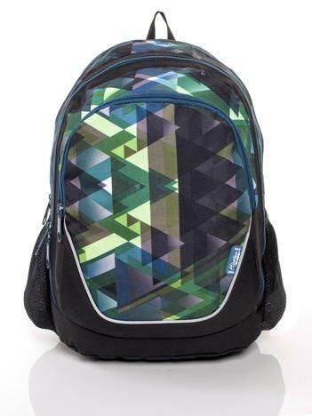 Czarno-zielony plecak w kolorowe trójkąty