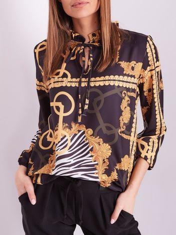 Czarno-żółta elegancka bluzka we wzory