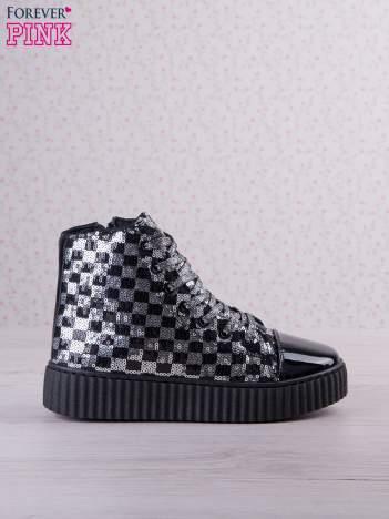 Czarnosrebrne sneakersy z cekinami w szachownicę