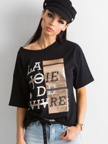 Czarny damski t-shirt z aplikacją