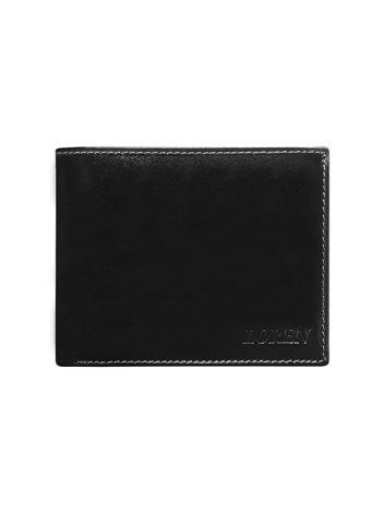 Czarny gładki portfel męski ze skóry