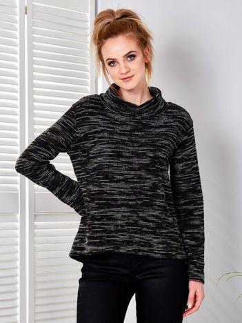 Czarny-khaki melanżowy sweter damski z golfem