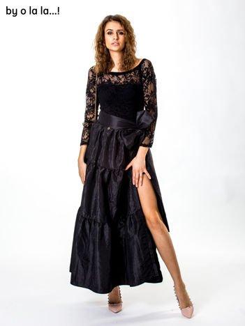 Czarny komplet ze spódnicą z tafty BY O LA LA