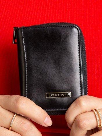 Czarny mały portfel ze skóry