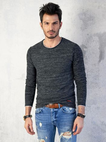 Czarny melanżowy sweter męski