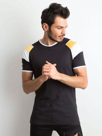 Czarny męski bawełniany t-shirt