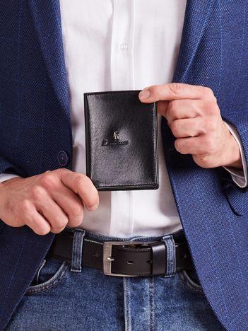 Czarny męski portfel z tłoczeniem