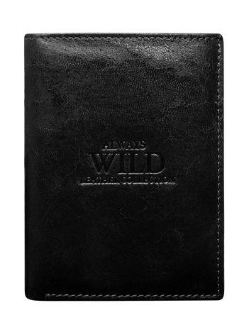 Czarny pionowy portfel męski z tłoczeniem