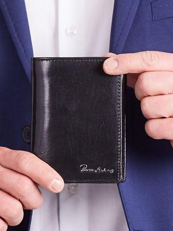Czarny pionowy skórzany portfel dla mężczyzny