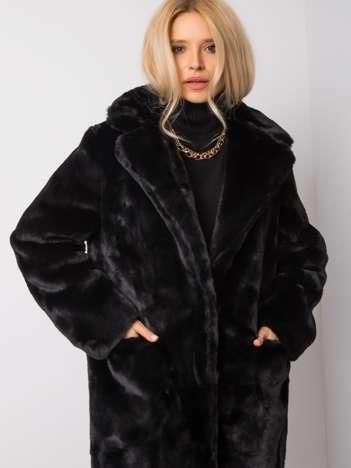 Czarny płaszcz futrzany Macaria
