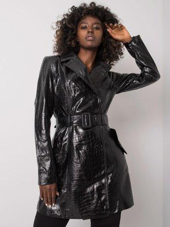 Czarny płaszcz ze skóry ekologicznej Nastasja
