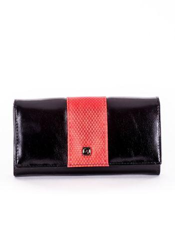 Czarny portfel damski skórzany z czerwoną wstawką