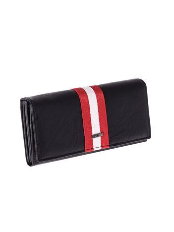 Czarny portfel damski z kolorowym modułem