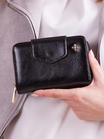 Czarny portfel damski ze skóry ekologicznej