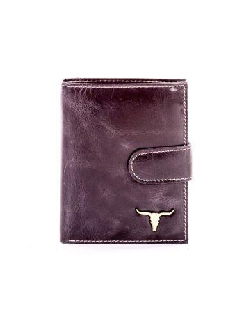 Czarny portfel skórzany z cieniowaniem i zapięciem na zatrzask