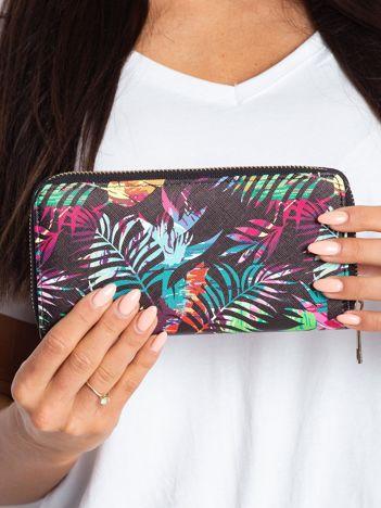Czarny portfel ze wzorem