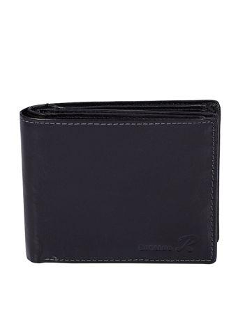 Czarny poziomy otwarty portfel męski