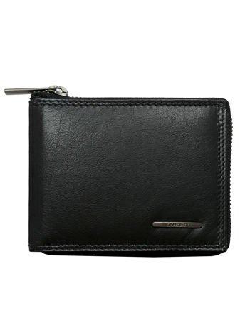 Czarny poziomy skórzany portfel męski na suwak