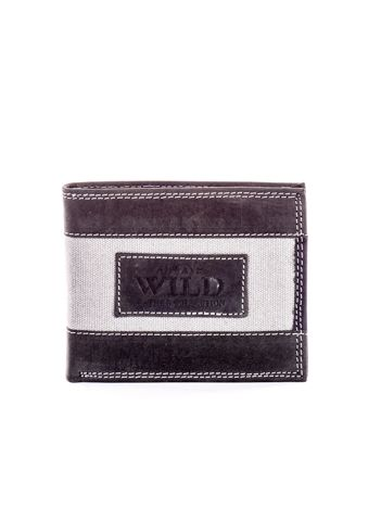 Czarny skórzany portfel dla mężczyzny z materiałowym modułem