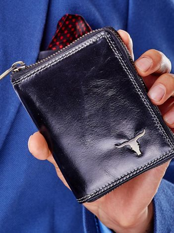 Czarny skórzany portfel męski na suwak