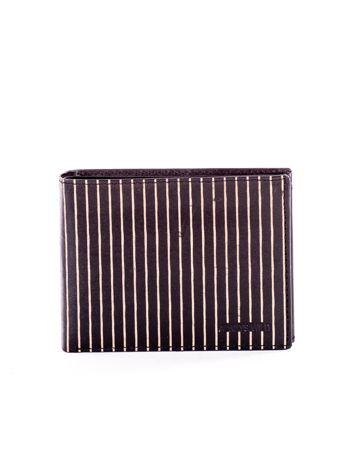 Czarny skórzany portfel męski w tłoczone paski