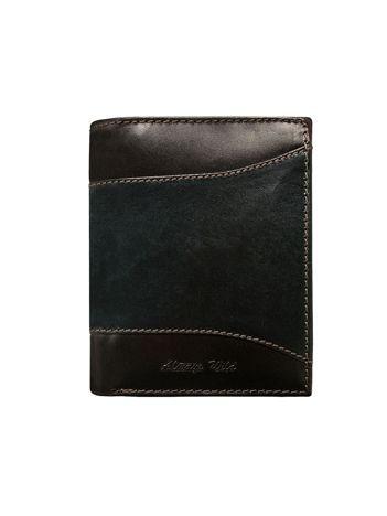 Czarny skórzany portfel męski z brązowymi wstawkami