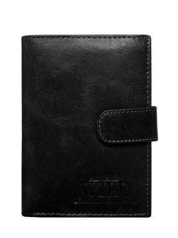 Czarny skórzany portfel męski zapinany na napę