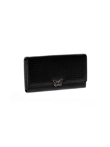 Czarny skórzany portfel w tłoczoną kratę