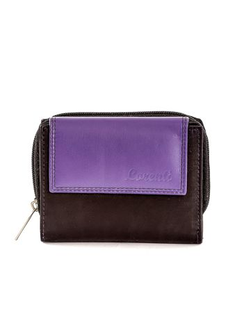 Czarny skórzany portfel z fioletową klapką