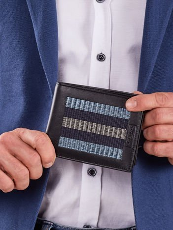 Czarny skórzany portfel z niebieskimi przeszyciami