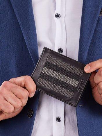 Czarny skórzany portfel z szarymi przeszyciami