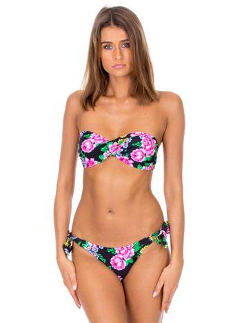 Czarny strój kąpielowy bikini w kwiaty