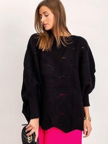Czarny sweter Poncho