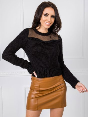 Czarny sweter damski BSL