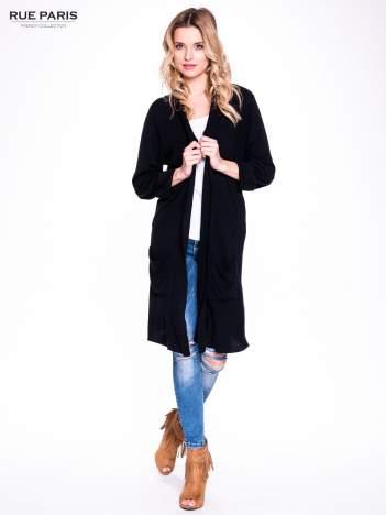 Czarny sweter długi kardigan z kieszeniami