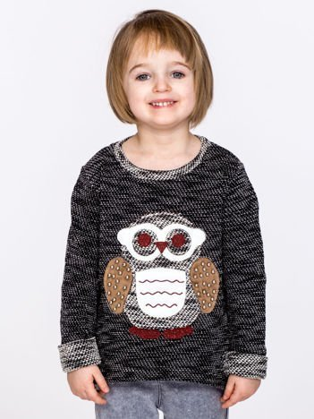 Czarny sweter dziecięcy z sową i perełkami